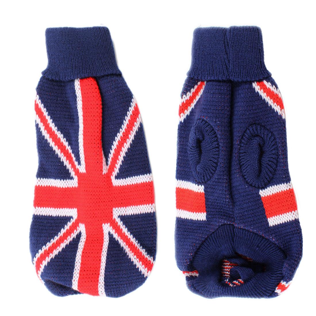 Warm UK Flag Print Turtleneck Pet Dog Knitwear Knitted Apparel Sweater Blue XXS
