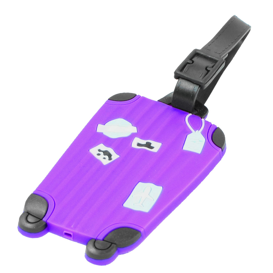 Purple Soft Plastic Plane Car Boat Prints Luggage Tag Name ID Label