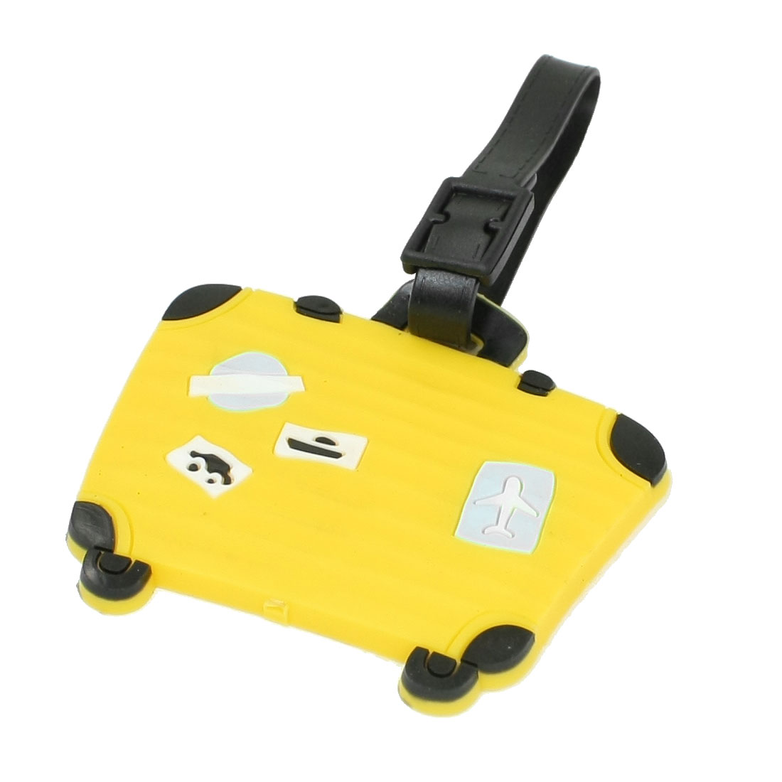 Luggage Shape Travel Suitcase Baggage Tag Name ID Label Yellow w Strap