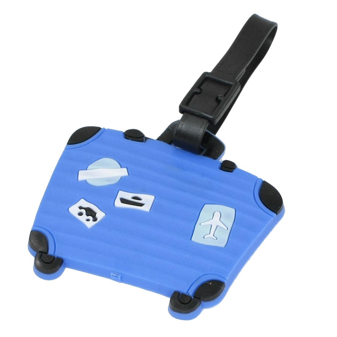 Blue Soft Plastic Luggage Shaped Name Address Label Travel Baggage Bag Tag