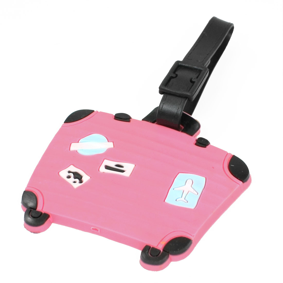 Pink Soft Plastic Luggage Shaped Name Address Label Travel Bag Tag