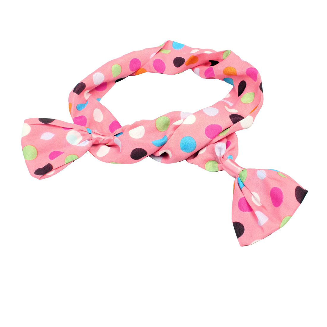 Pink Chiffon Coated Metal Band Colors Dost Pattern Hair Loop Ponytail Holder
