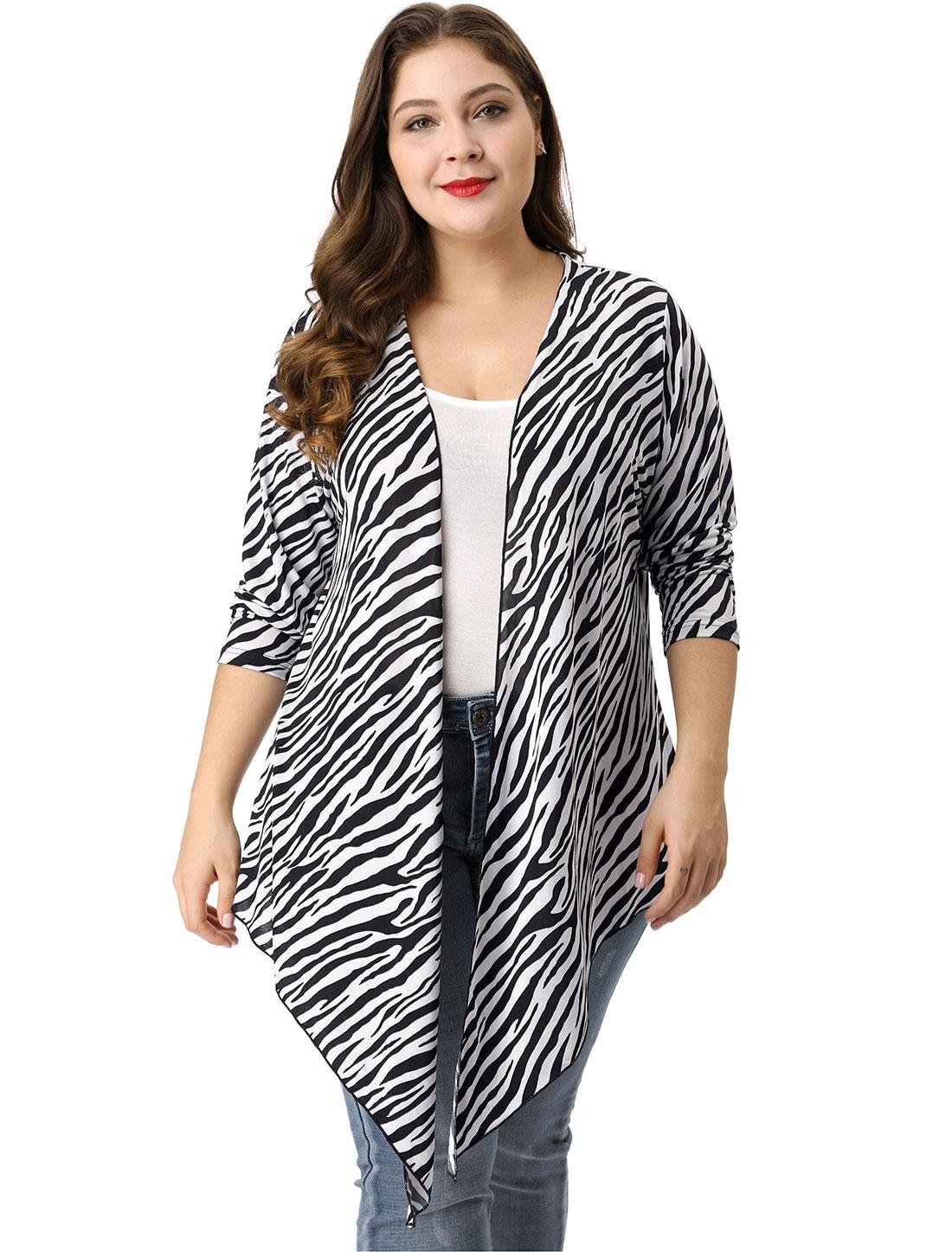Ladies White Black Long Sleeves Leisure Stylish Plus Size Cardigan 3X