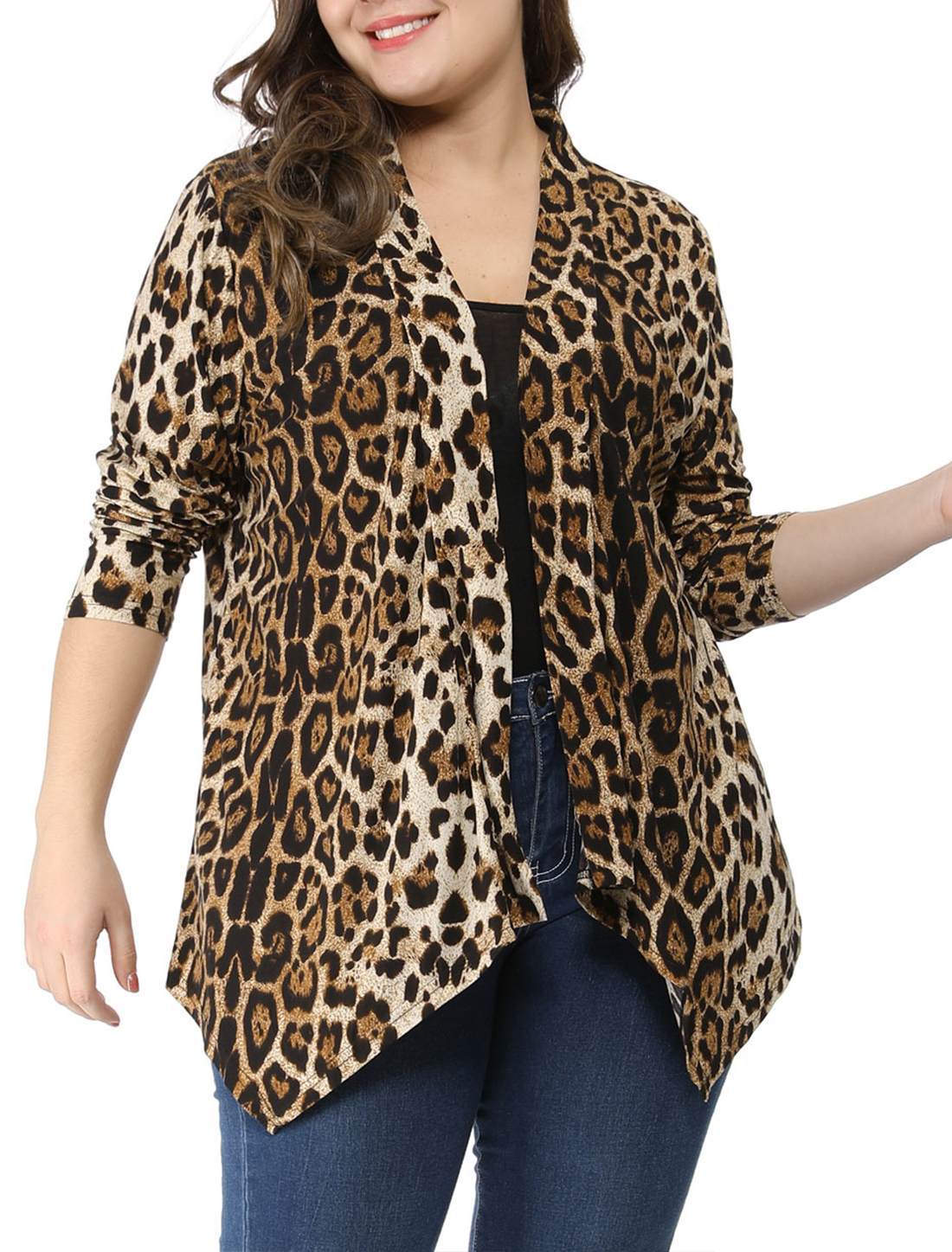 Ladies Beige Black Leopard Prints Front Opening Casual Plus Size Cardigan 1X