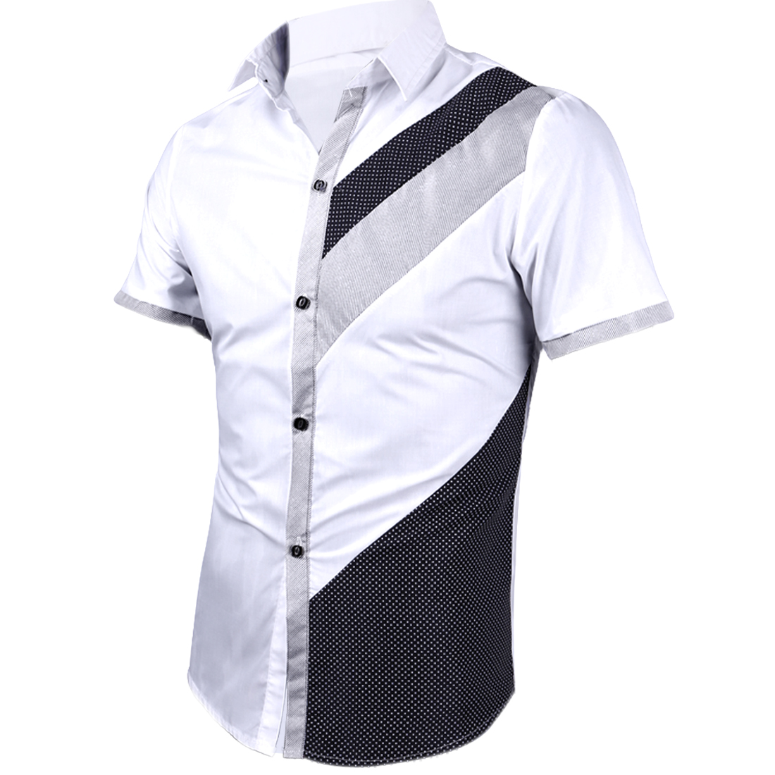 Man New Fashion Polka Dots Pinstripes Pattern Splice White Tops S