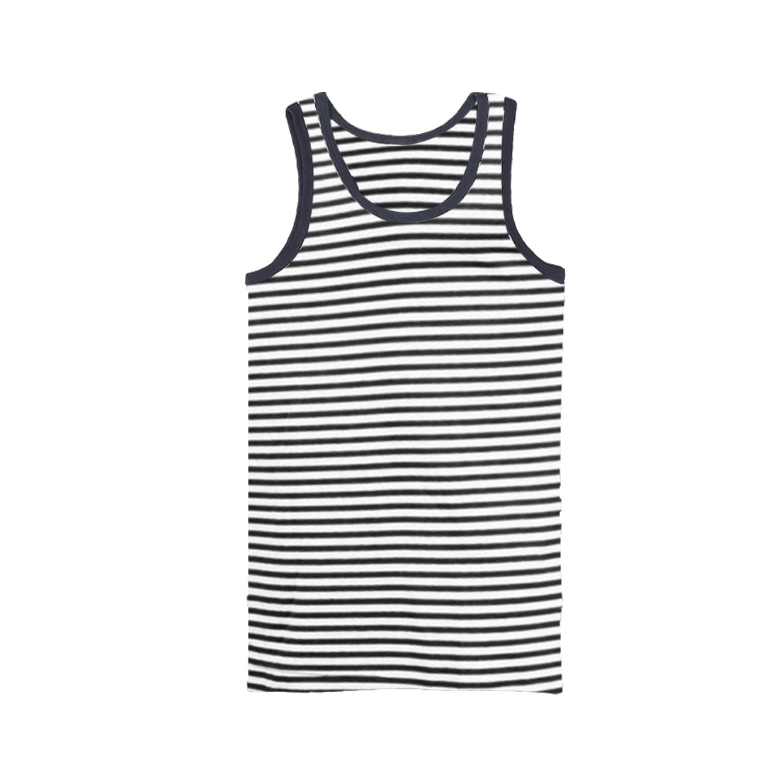Men U Neck Pullover Sleeveless Stripes Leisure Summer Wearing Shirt White Black S