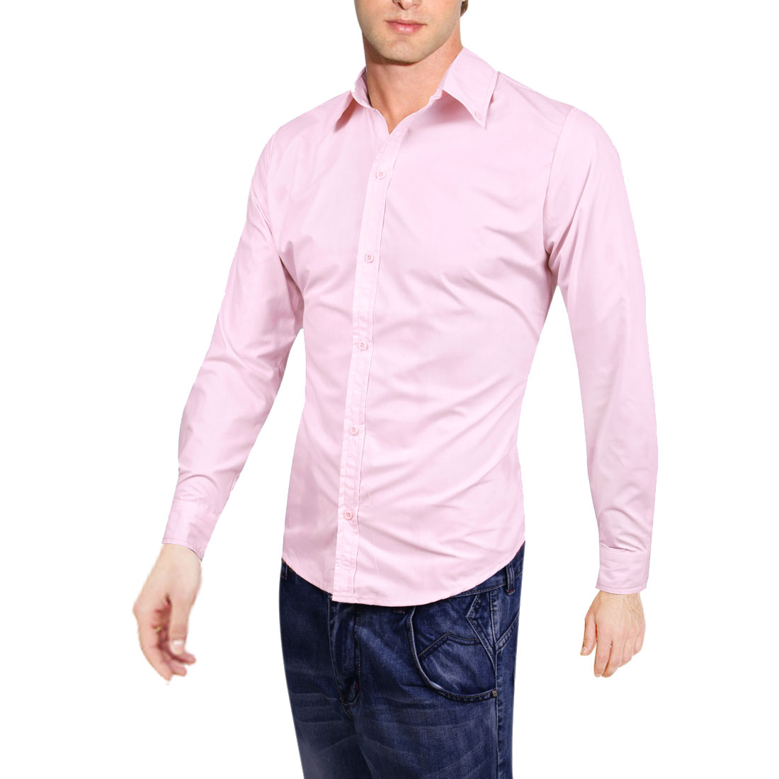 Men Point Collar Button Closure Long Sleeve Solid Color Casual Shirt Pink M