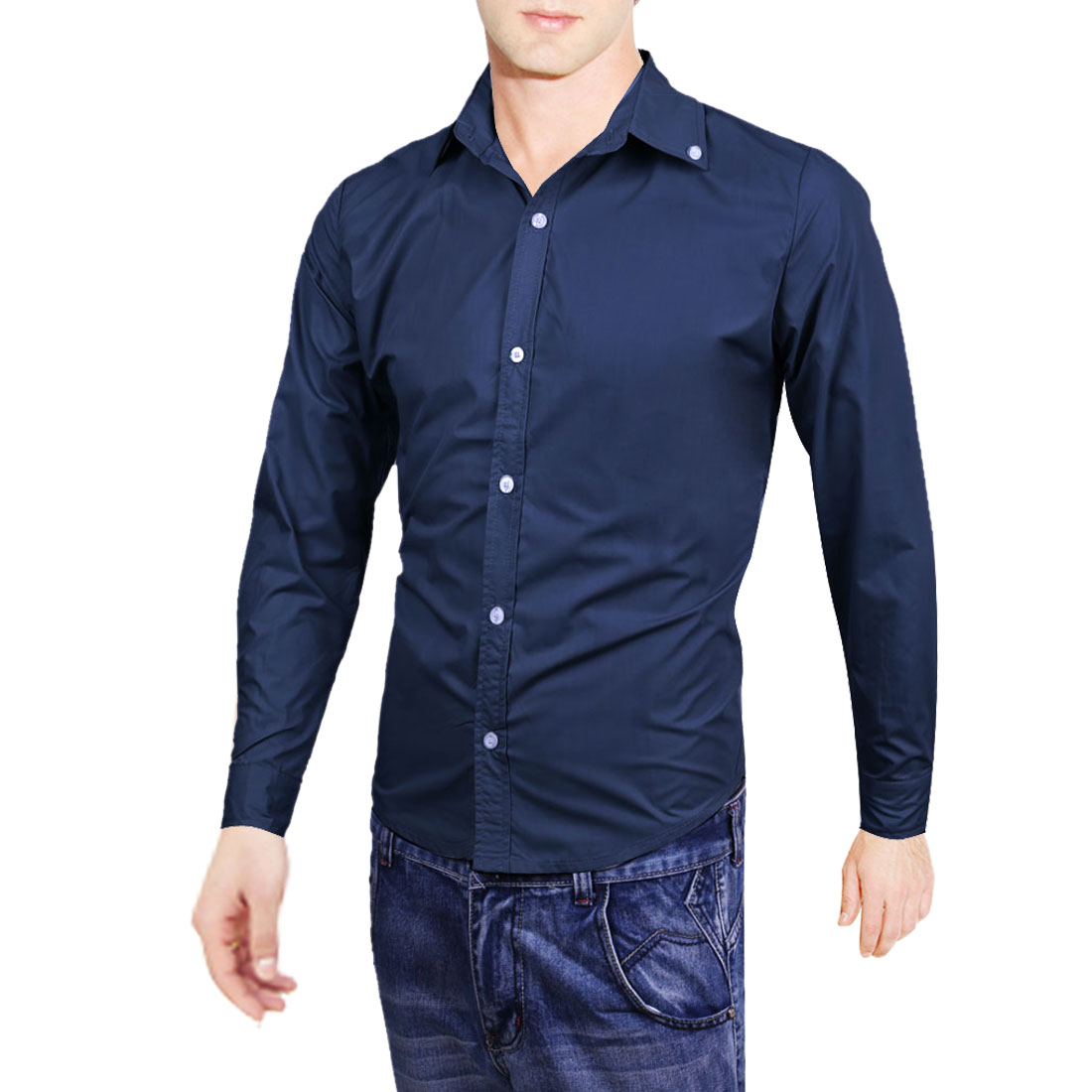 Men Point Collar Button Up Long Sleeve Solid Color Shirt Navy Blue M