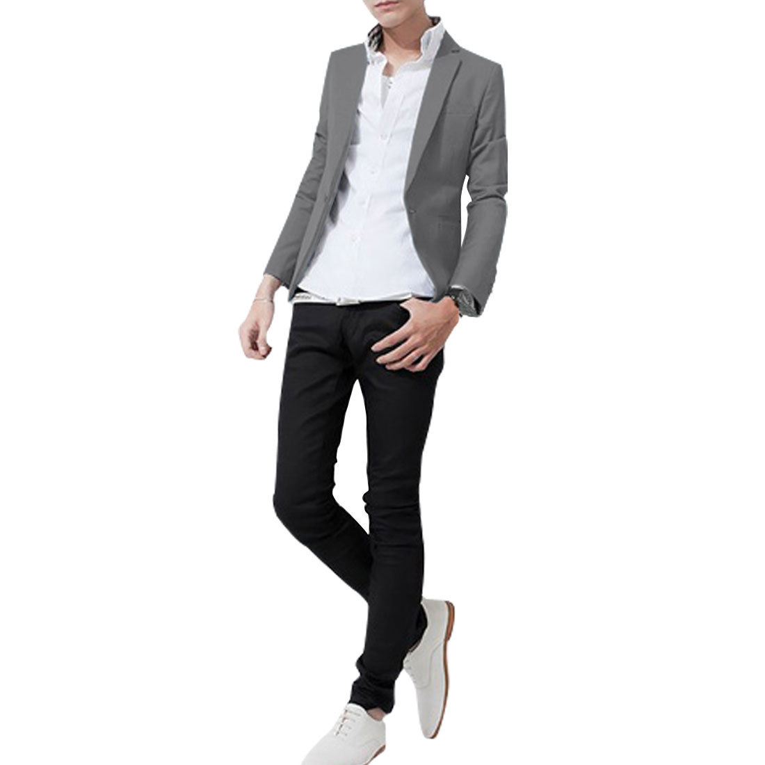 Men Peaked Lapel One Button Closure Long Sleeve Solid Color Blazer Gray M