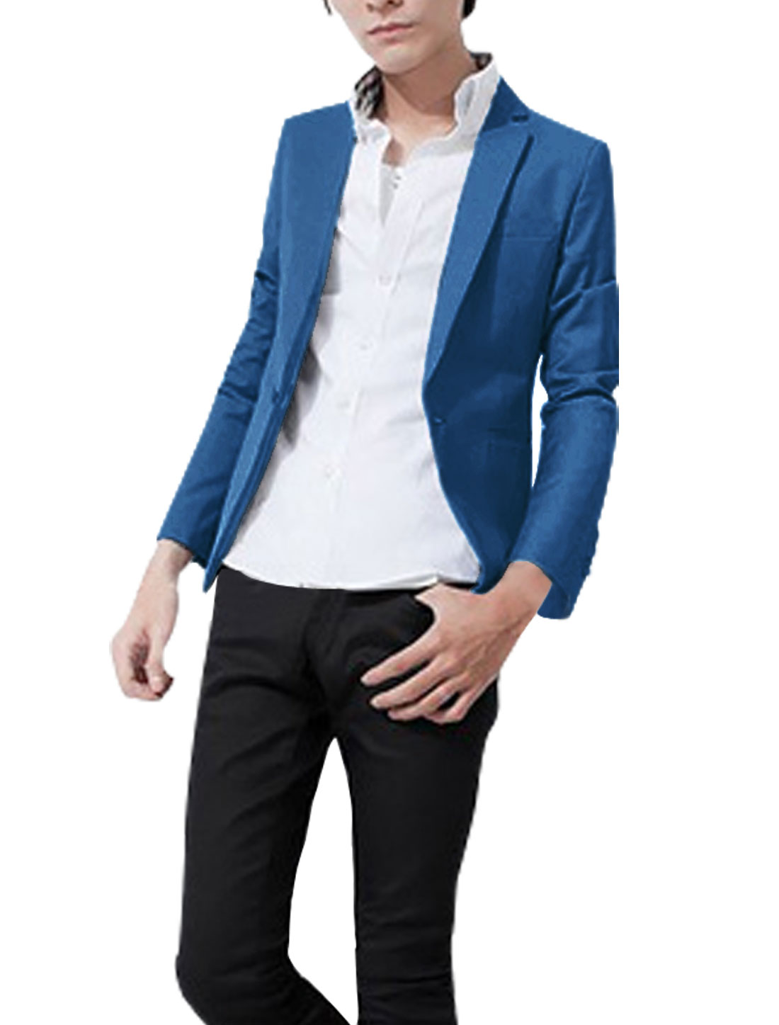 Men Peaked Lapel One Button Closure Long Sleeve Mock Pockets Blazer Sky Blue M