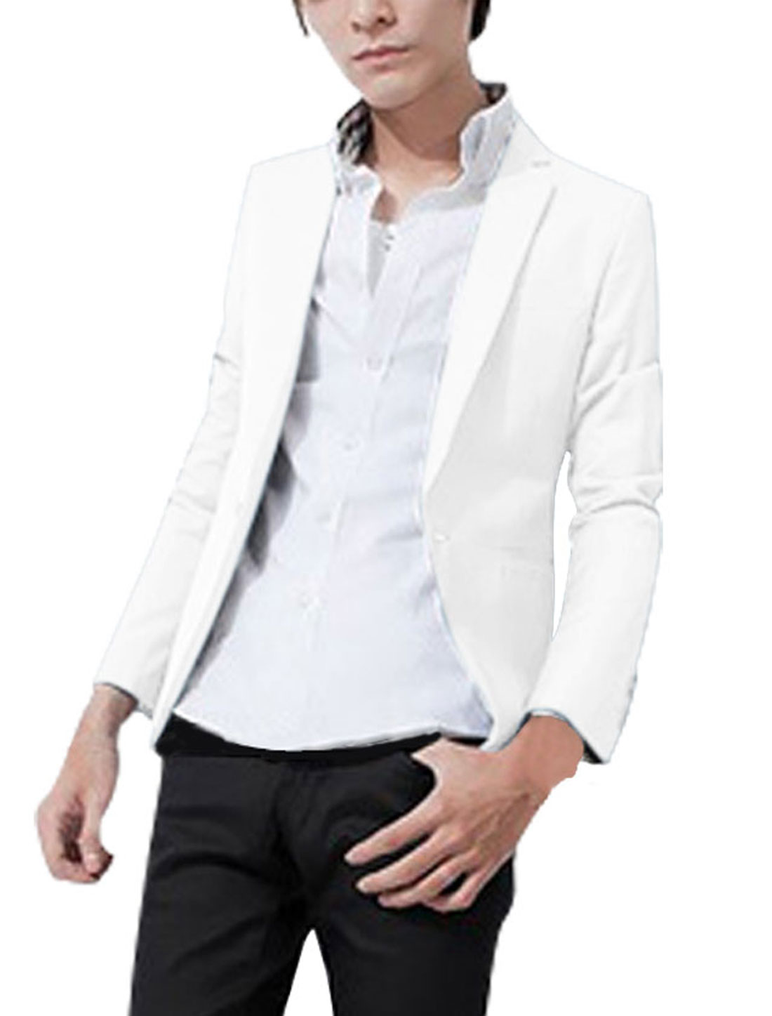 Men Peaked Lapel Button Front Long Sleeve Mock Pockets Solid Color Blazer White M