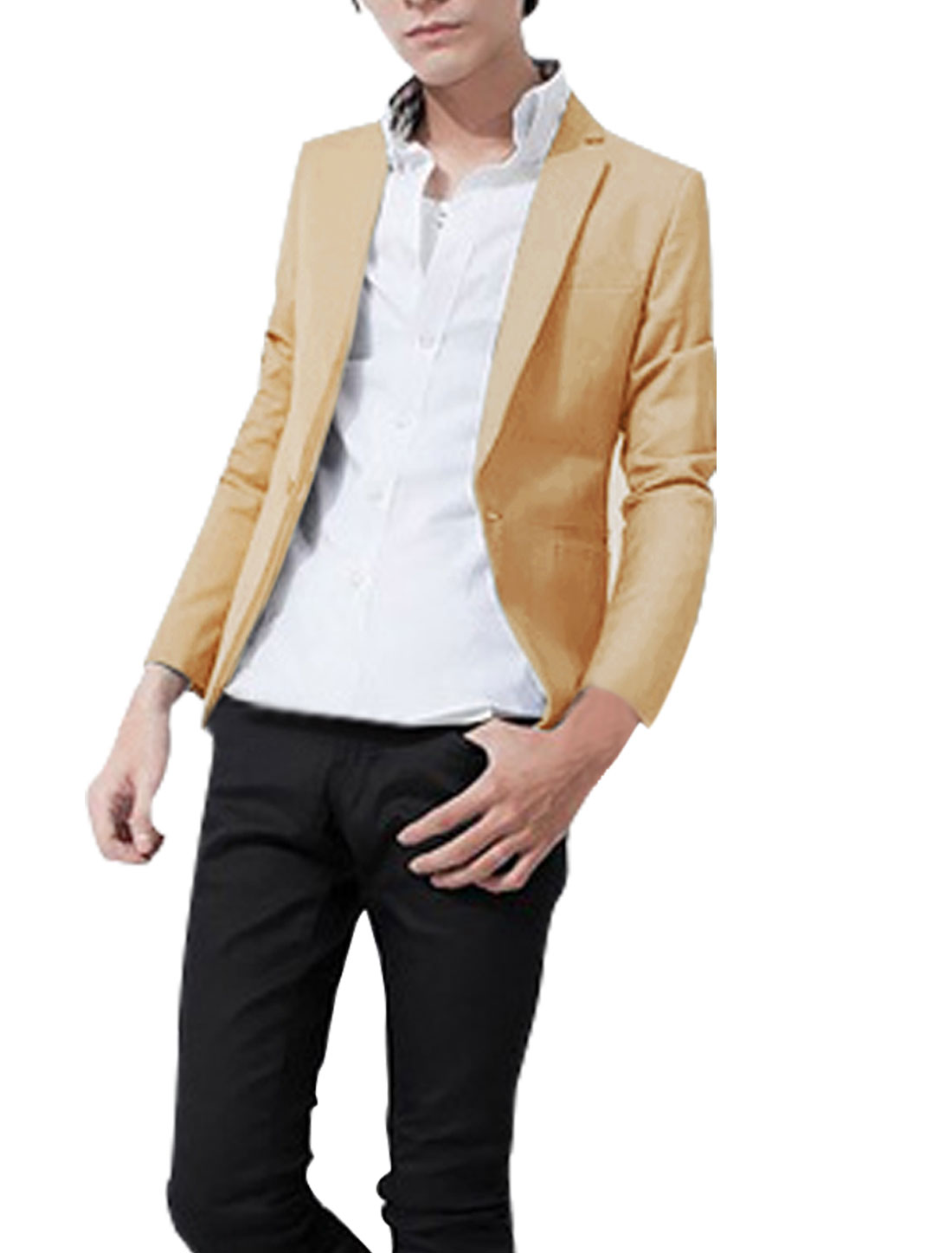 Men Peaked Lapel Button Up Long Sleeve Fake Pockets Solid Color Blazer Camel M