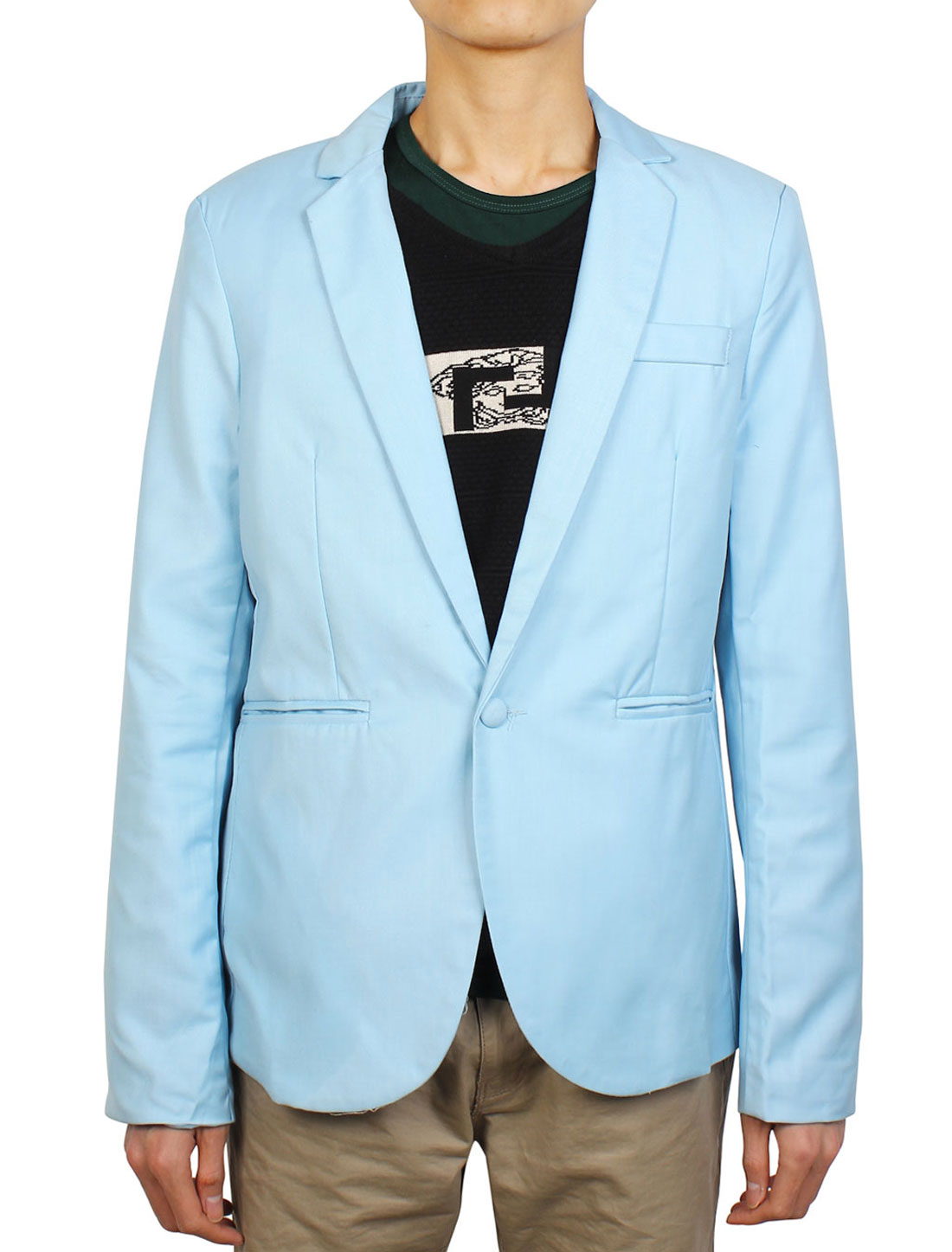 Men Peaked Lapel Button Up Long Sleeve Padded Shoulders Blazer Light Blue M