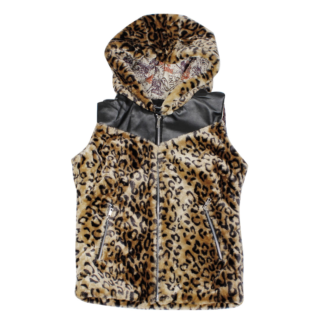 Men Sleeveless Beige Leopard Prints Hoodie Fleece Vest S