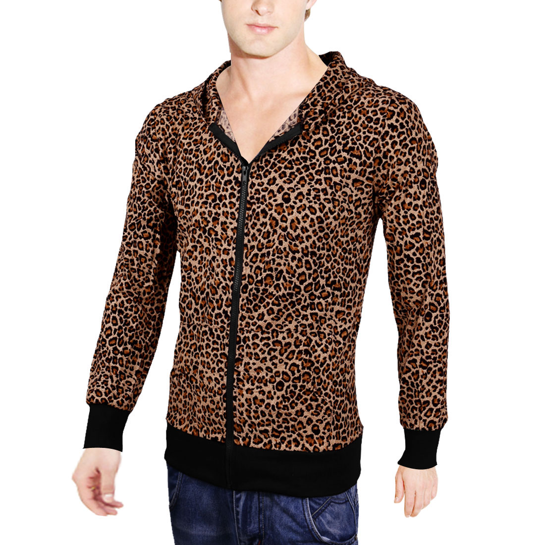 Mens Fashion Leopard Pattern Hooded Zipper Front Closure Beige Spring Coat M