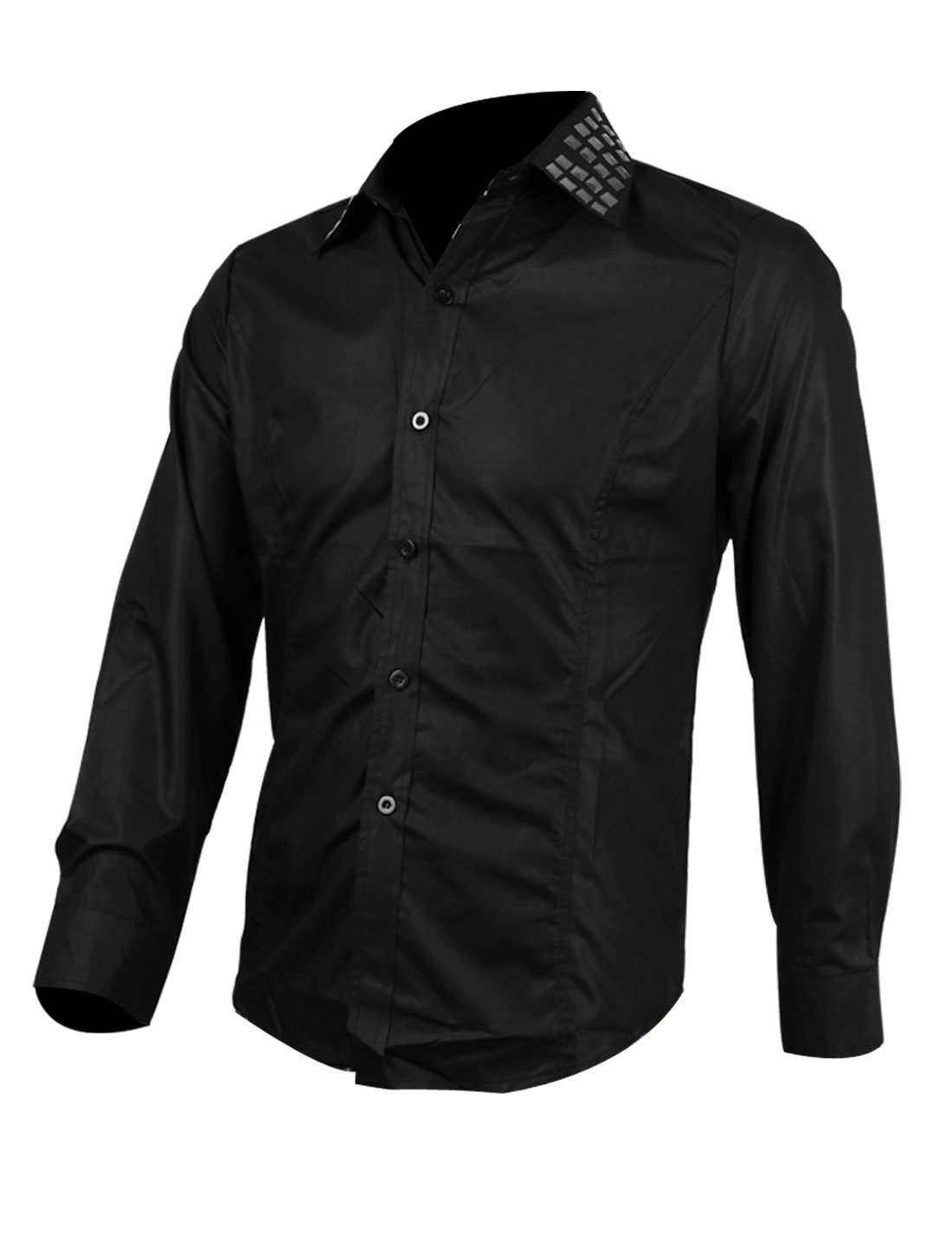 Men Point Collar Single Breasted Long Sleeve Studs Decor Solid Color Shirt Black M