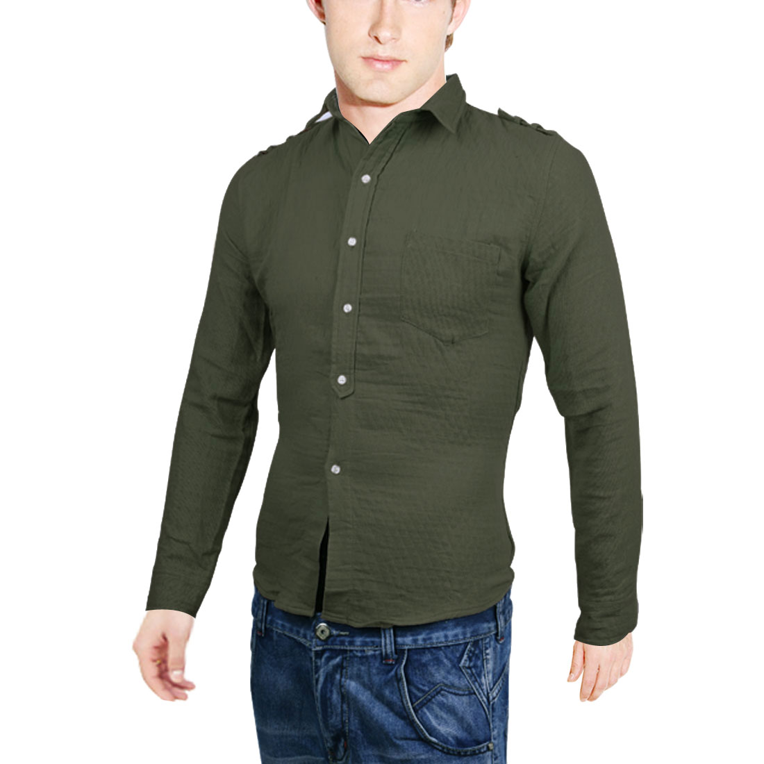 Men Breast Pockets Long-sleeved Buttons Front Shirt Army Green M