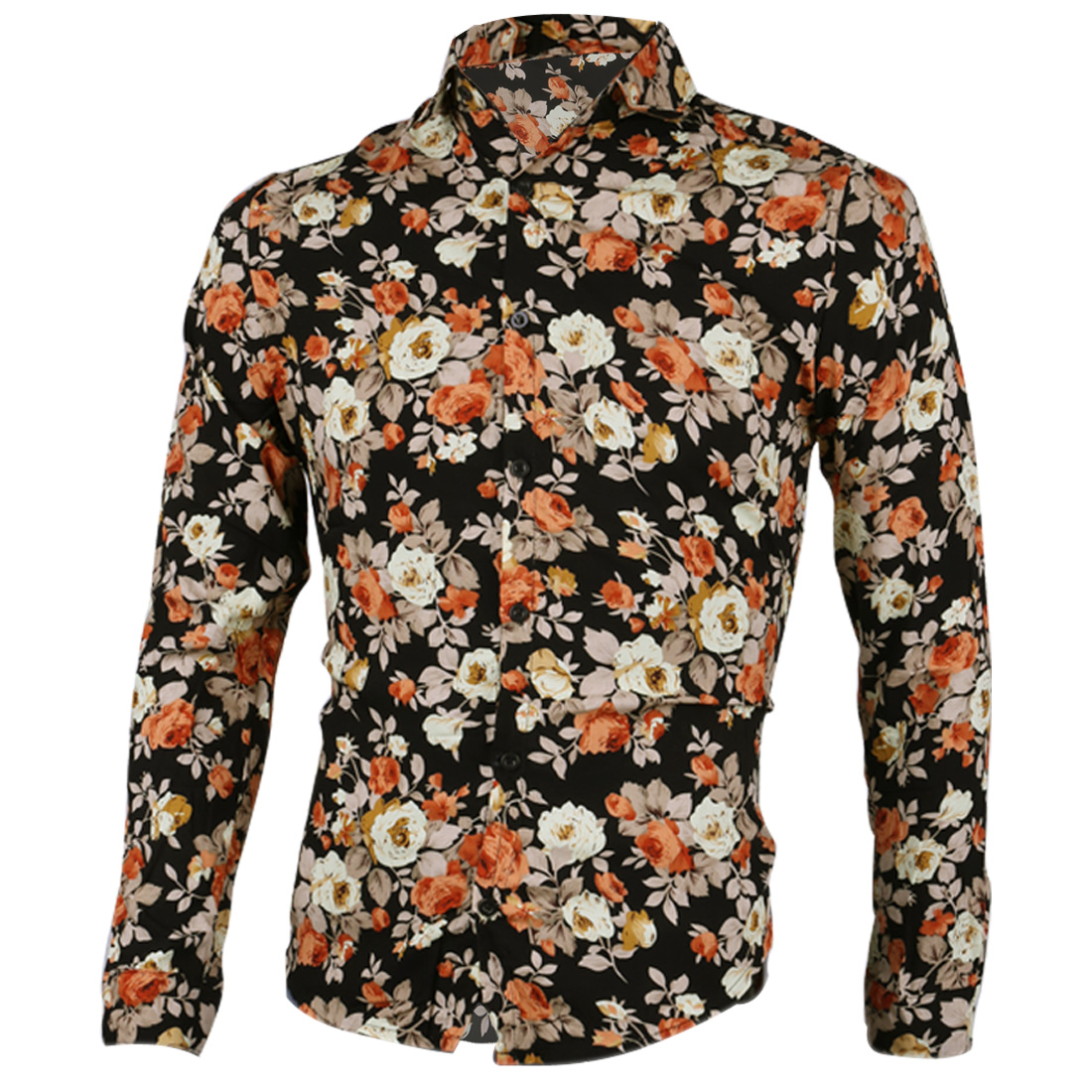Men Point Collar Long Sleeves Floral Prints Button Up Shirt Multi-Color S