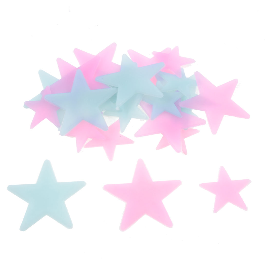2 Packs Bedroom Ceiling Luminous Plastic Stars Design Sticker Pink Blue