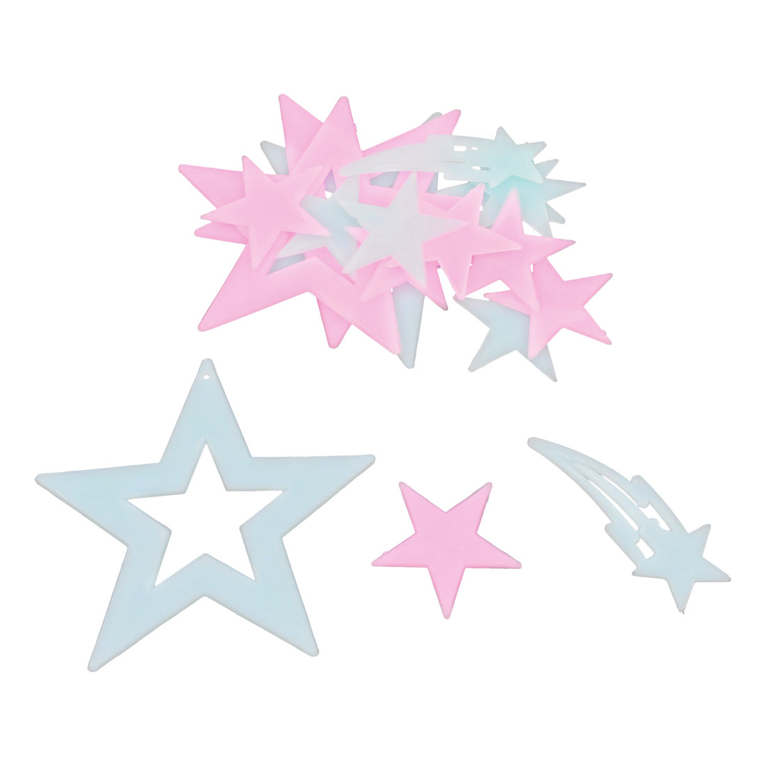 2 Bags Glow In Dark Star Plastic Sticker Baby Blue Pink