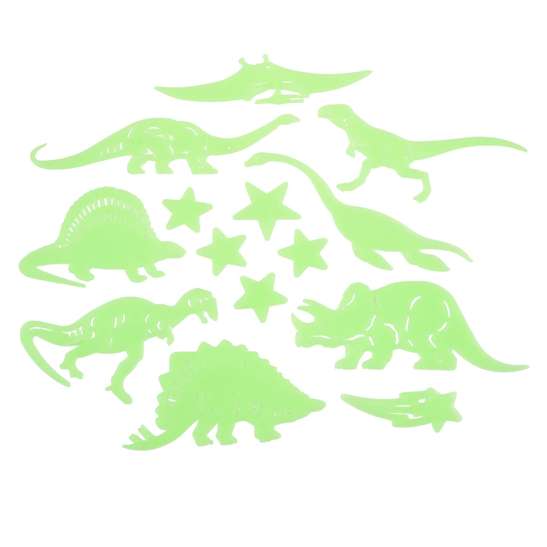 14 Pcs Green Plastic Dinosaur Star Flouresent Ceiling Wall Stickers Decor Gift