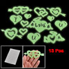 13 Pcs Green Glow in Night Hearts Design Luminous Stickers