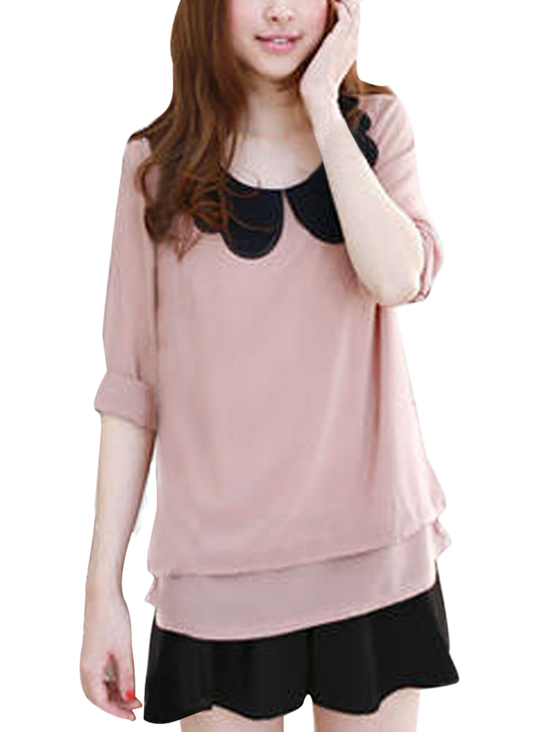Ladies Round Neck Pullover 3/4 Sleeve Flouncing Decor Splice Blouse Light Pink XS