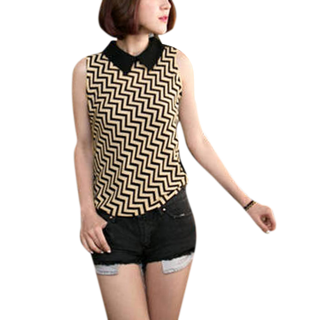 Ladies Beige Black Point Colalr Zigzag Pattern Summer Shirt XS