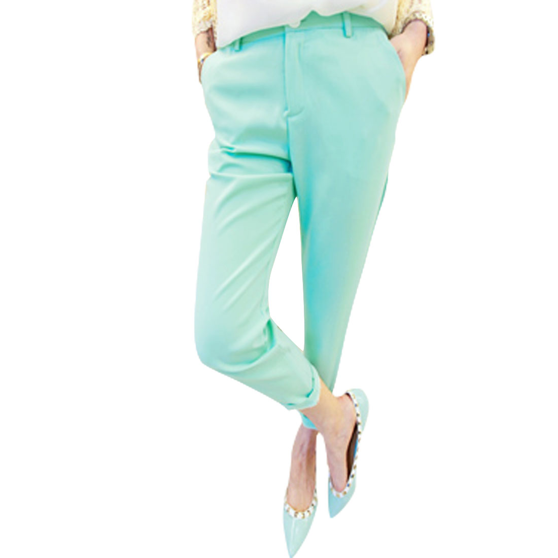 Woman New Fashion Mint Green Natural Waist Zipper Fly Full Length Pants S