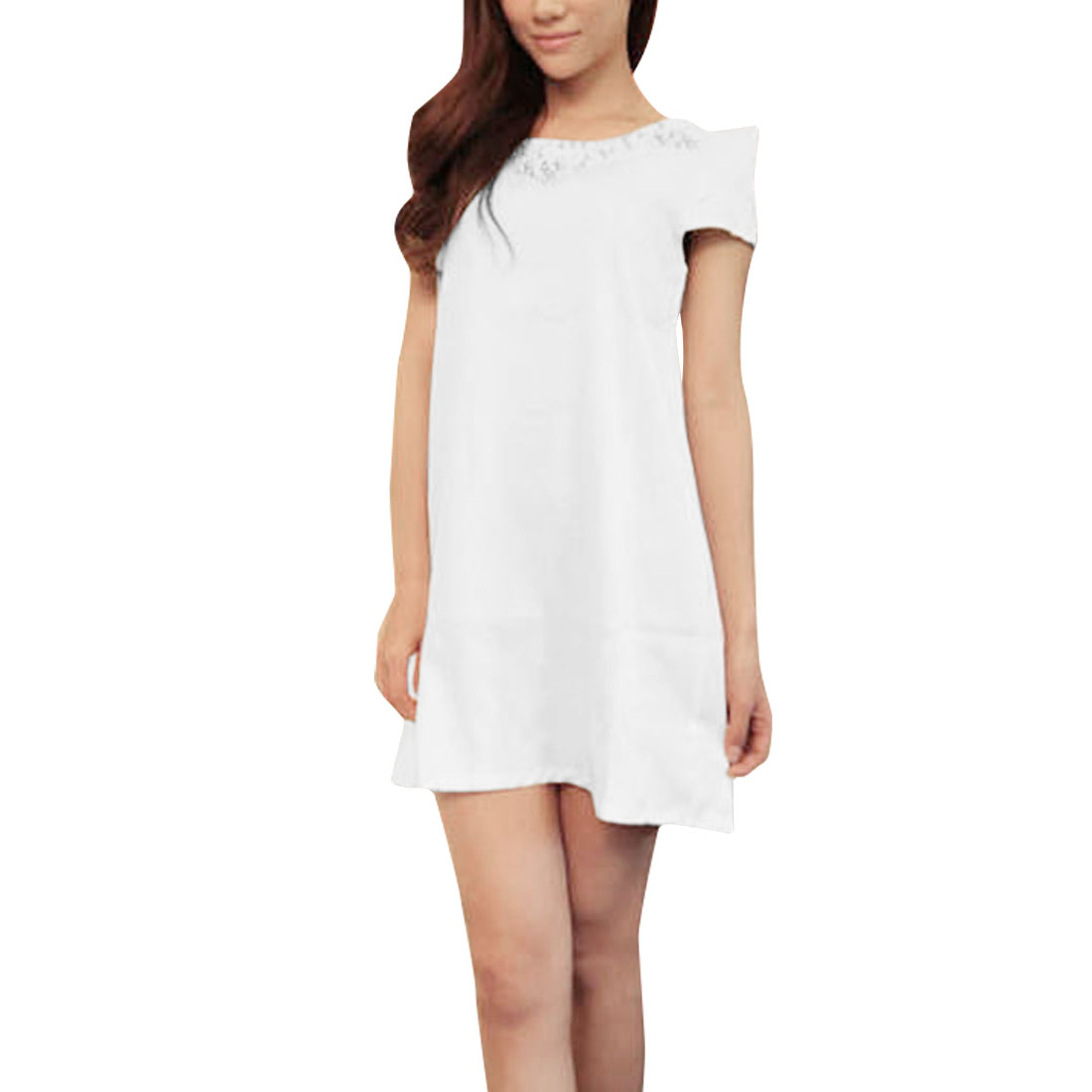 Lady Cap Sleeve Fake Pearls Front White Mini Dress S