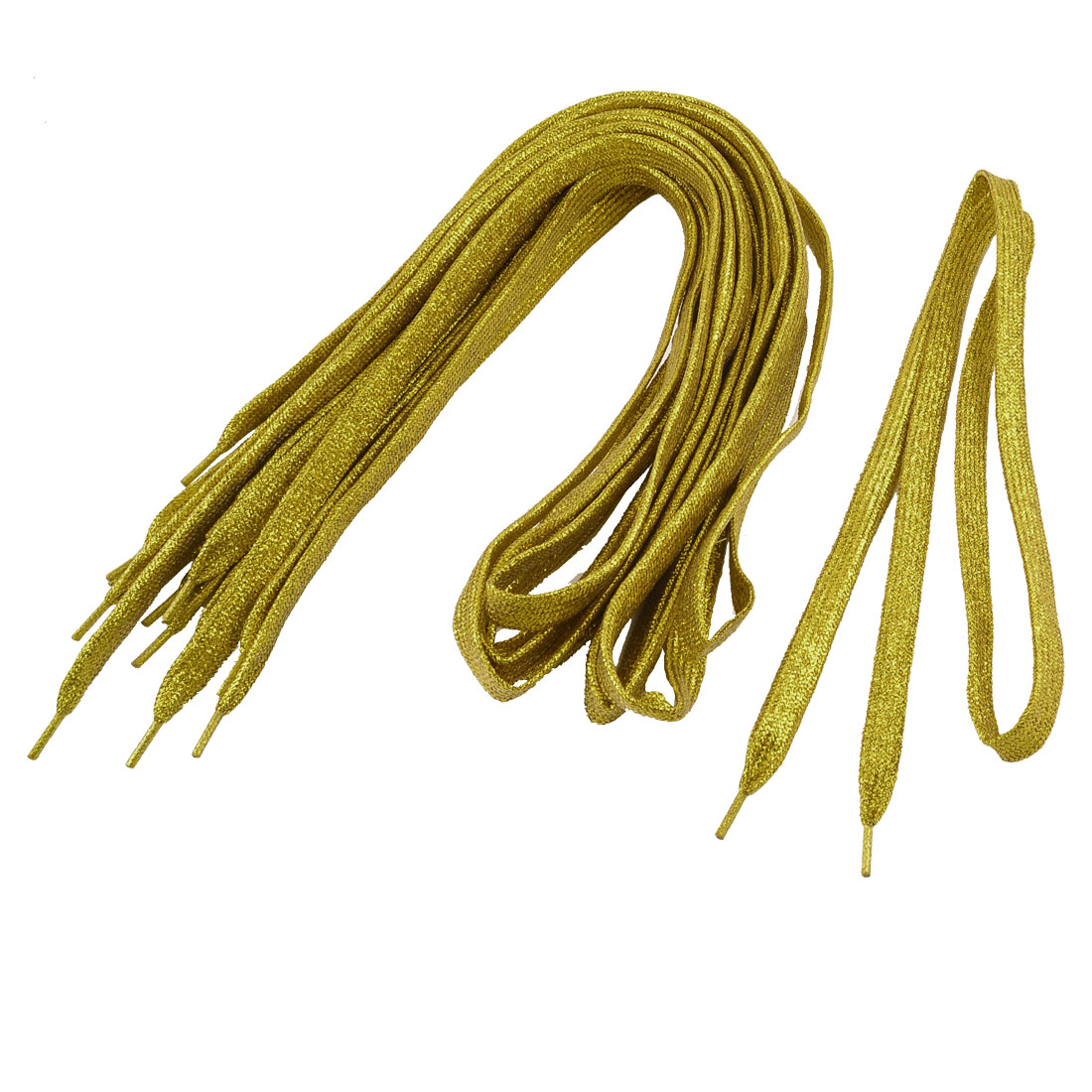 5 Pairs Plastic Tips Glittery Shoelaces Laces Gold Tone for Men Women