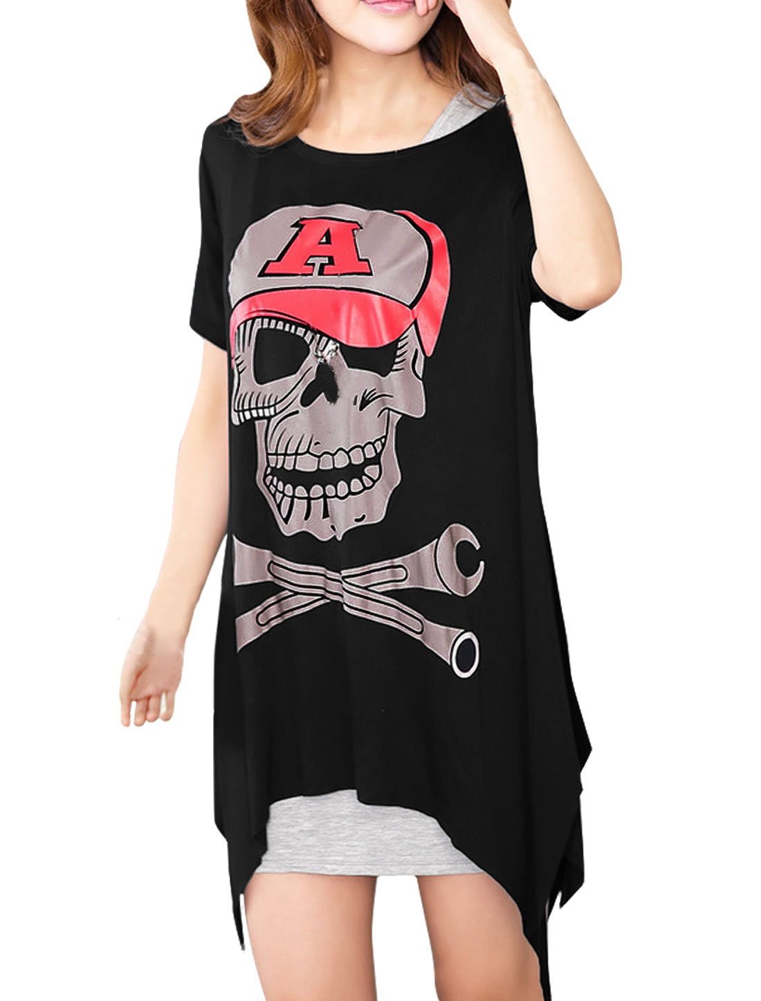 Ladies Black Short Sleeves Cut Out Back Skull Pattern Front Tunic Shirt M