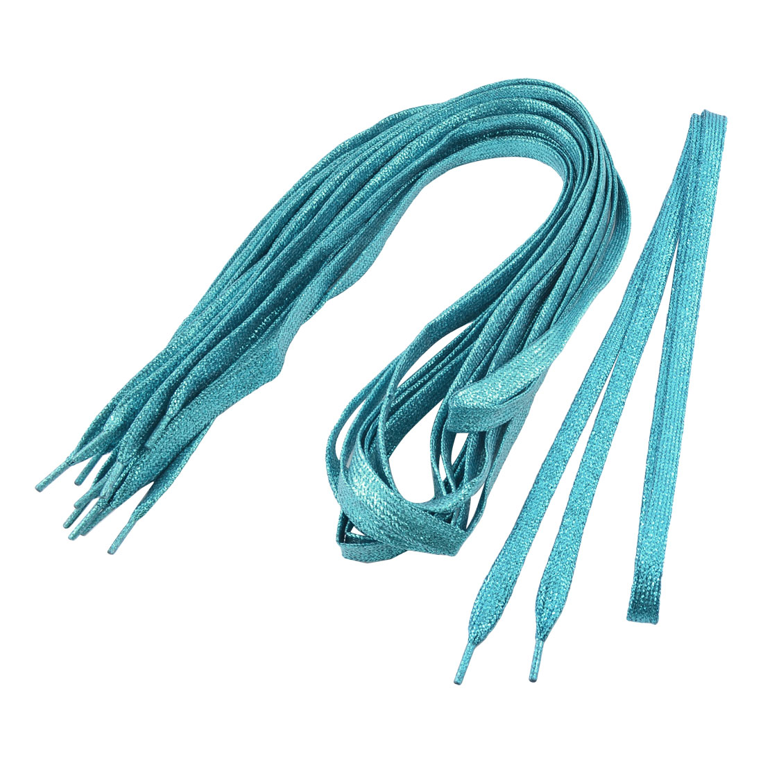 Unisex Glittery Textured Nylon Wide Flat Shoelaces Teal Blue 5 Pairs