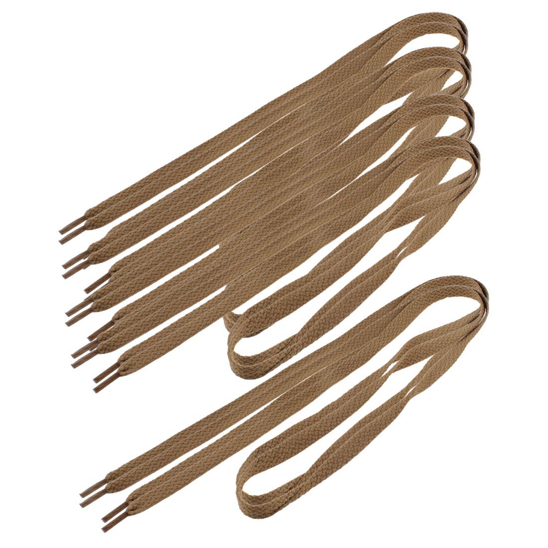 Men Women Sneakers Textured Flat Shoelaces Shoe Strings Brown 5 Pairs