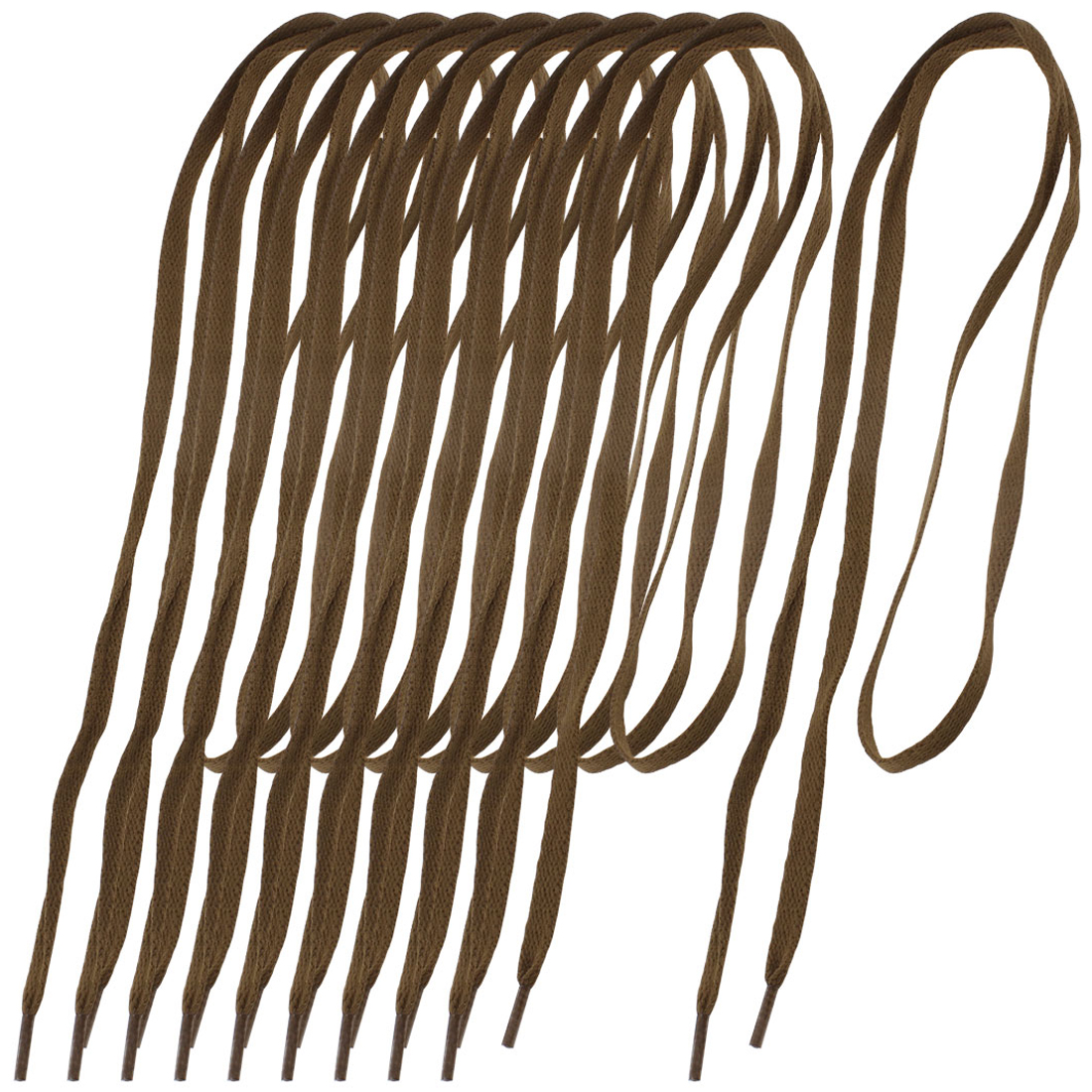 5 Pairs Unisex Plastic Tips Nylon Flat Shoelaces Shoestring Dark Brown
