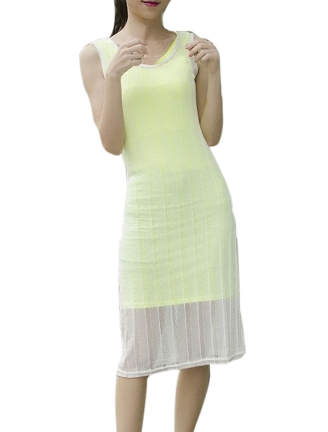 Lady Round Neck Slim Fit Lime Mini Dress w Chic Sheer White Mesh Tank Dress XS