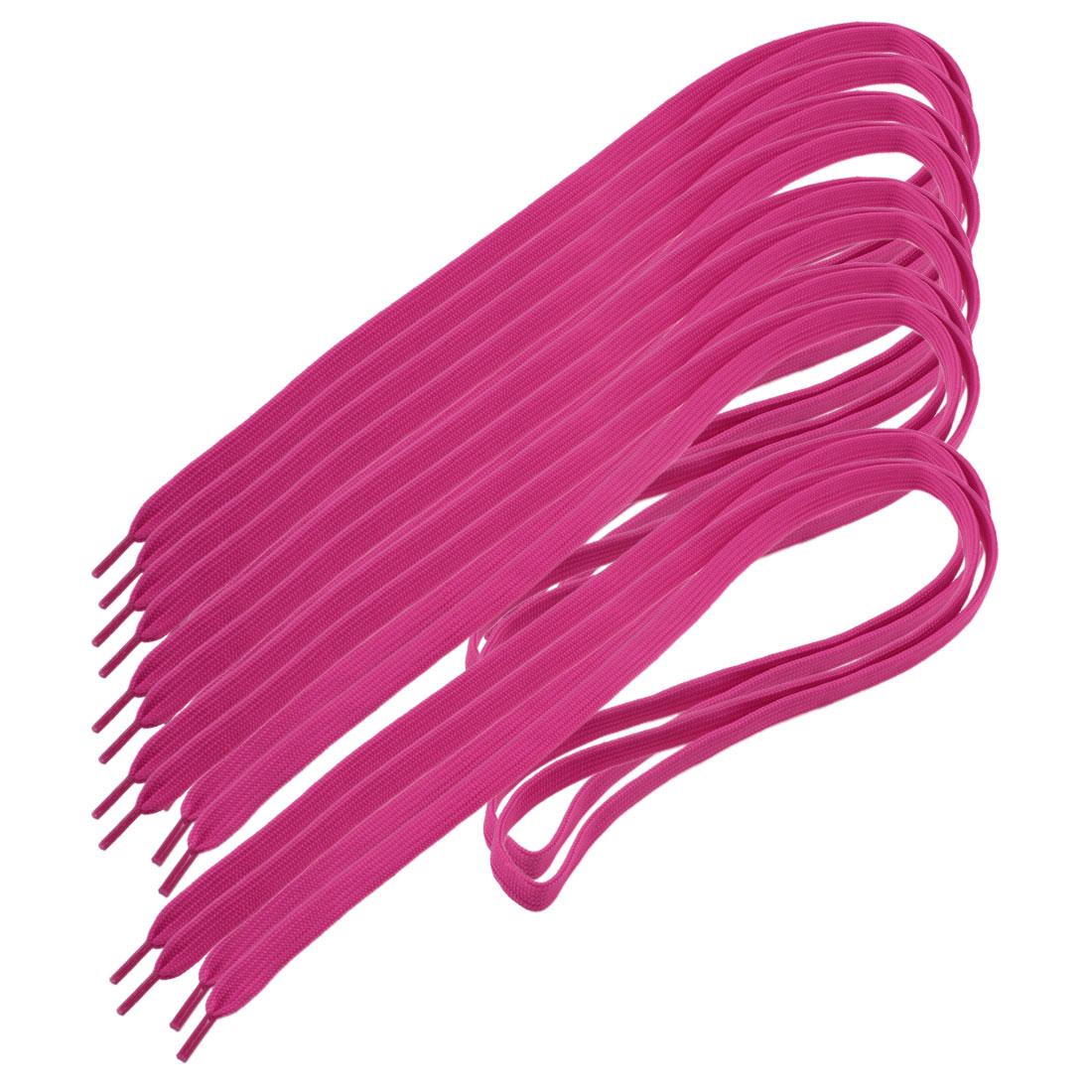 5 Pairs Unisex Textured Nylon Wide Flat Shoelaces Shoe Lace Fuchsia