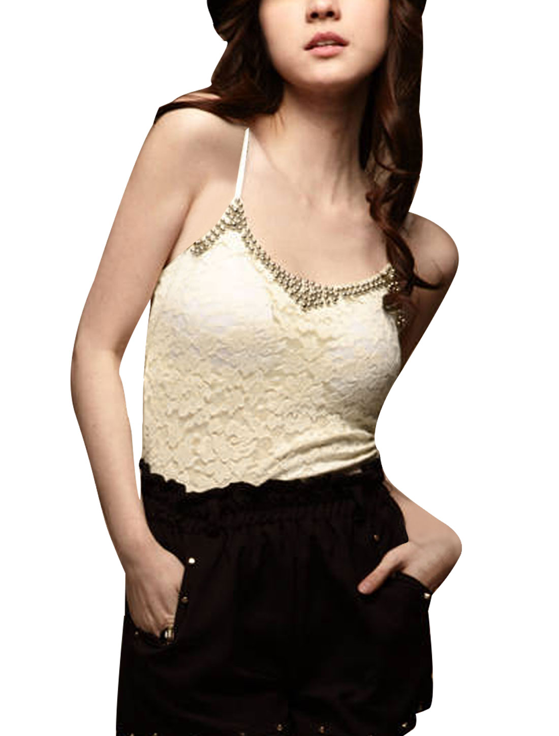Woman Beading Decor Adjustable Spaghetti Straps All Over Lace Beige Tank Top XS