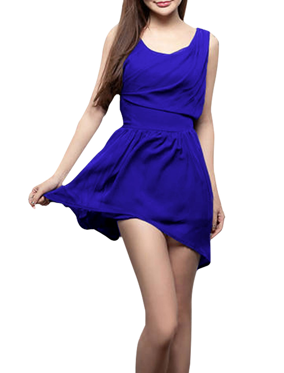Ladies Round Neck Pullover Sleeveless Solid Color Casual Dress Royal Blue XS
