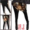 Ladies Black Tiger Head Pattern Stretchy Casual Harem Pants XS