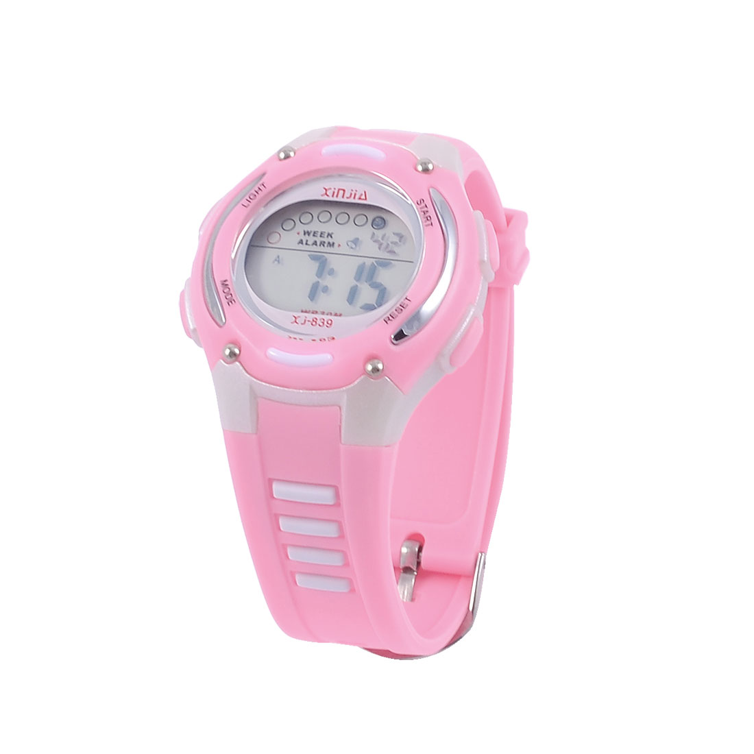 Ladies Soft Plastic Adjustable Wrist Band Water Resistant Stopwatch Digital Watch Pink
