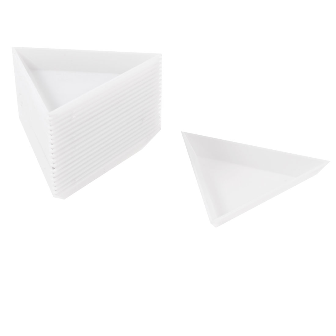 20 Pcs White Plastic Triangle Dish Small Components Collect Plate