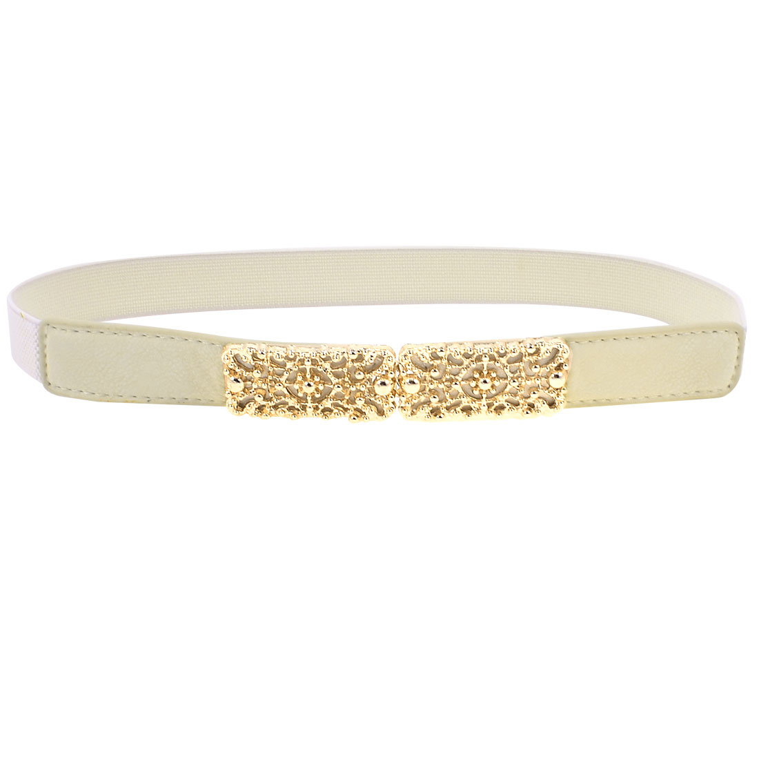 Women White Gold Tone Cut Out Interlocking Buckle Elastic Waist Belt 2.5CM Wide