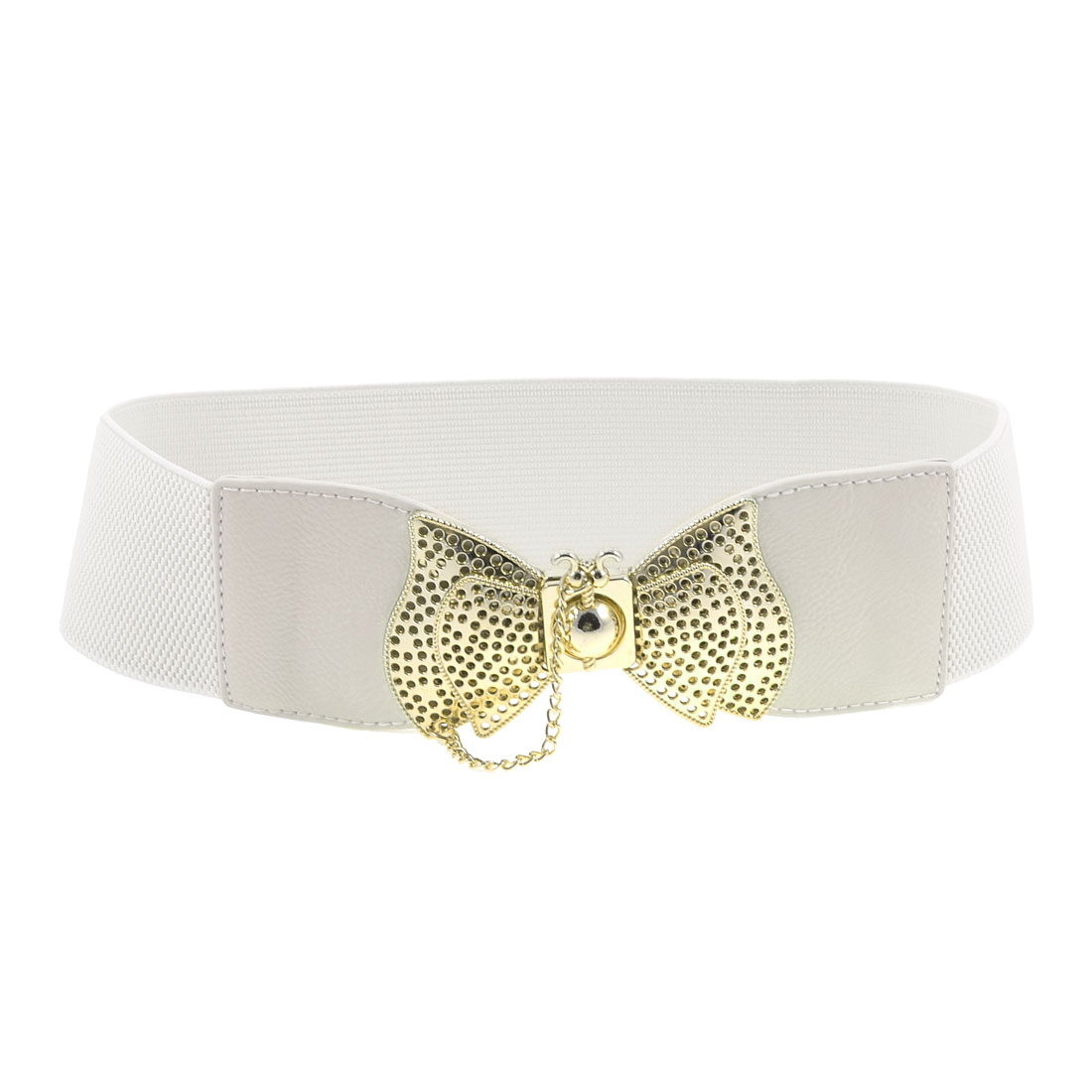 White Gold Tone Cut Out Bow Tie Buckle Elastic Waist Belt 6CM Wide for Lady