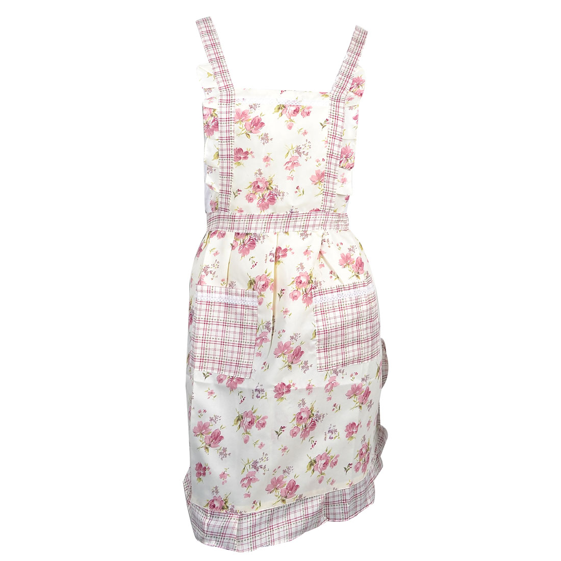 Plaid Brim Dark Pink Flower Pattern Beige Double Front Patch Pocket Bib Apron