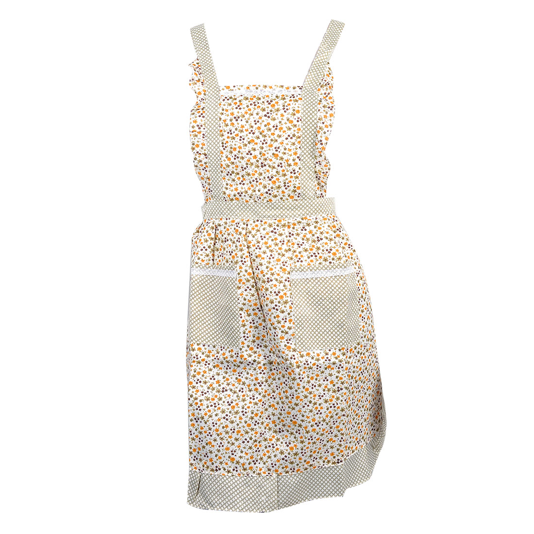 Orange Olive Green Flower Check Pattern Beige Double Patch Pockets Bib Apron