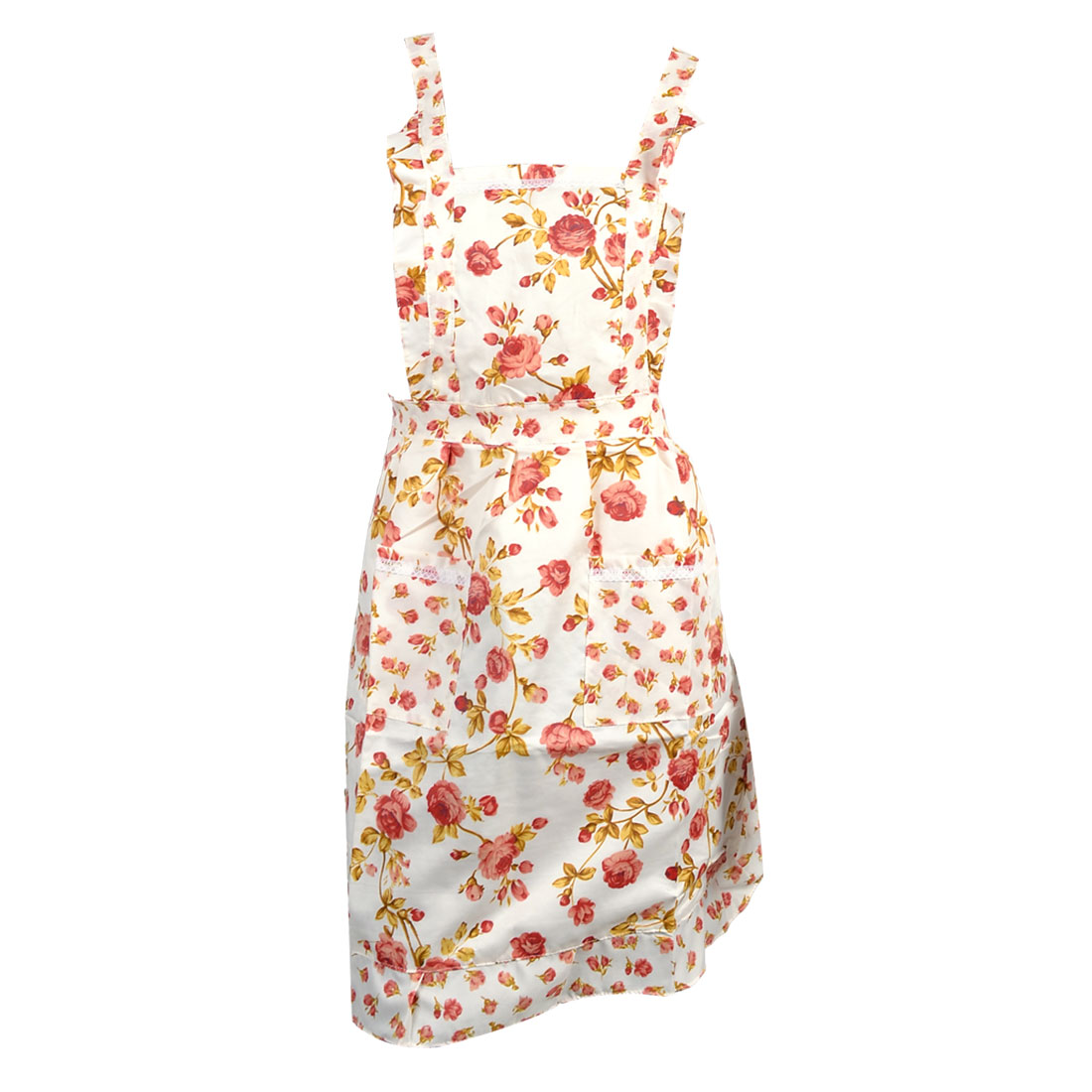 Red Flower Olive Green Leaf Pattern Beige Double Front Patch Pockets Bib Apron