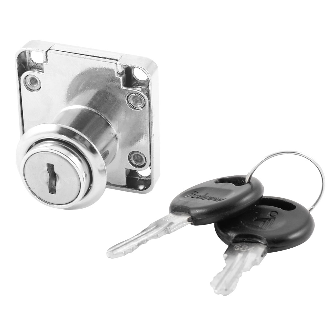 19mm Dia Cylinder Head Silver Tone Metal Furniture Desk Drawer Lock w Keys