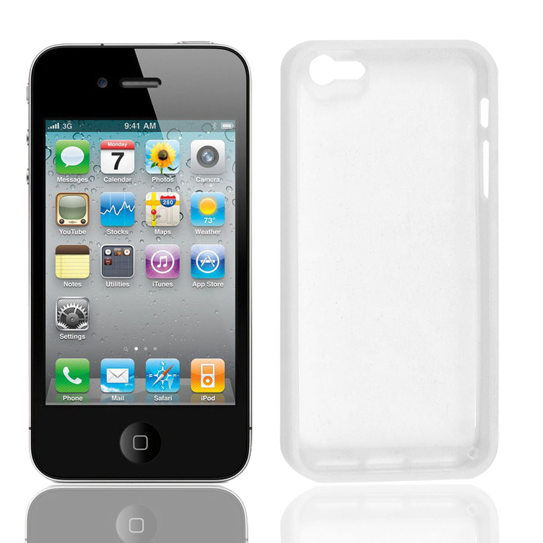 Plastic Case Cover Shell Shield Protector White Clear for iPhone 5 5G
