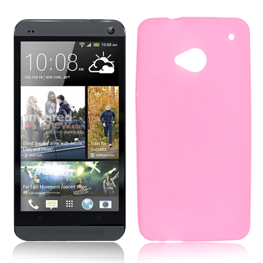 Protective Soft Plastic Case Shell Clear Pink for HTC One M7